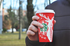 Starbucks holiday coffee cup Stock Photography