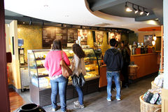 Starbucks. The popular Starbucks coffee shop in Lisbon Portugal. Photo taken April 2014 royalty free stock photo
