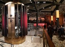 Starbucks reserve in milano winter christmas december newyears royalty free stock photos