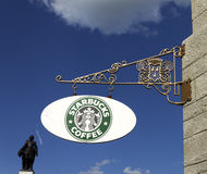 Starbucks sign at Chateau Frontenac Quebec City Stock Images