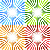 Starburst, картина sunburst круговая в цвете 4 Красочные лучи, иллюстрация вектора