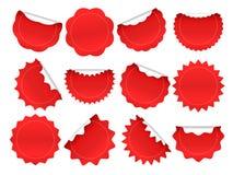 Стикер Starburst Ходя по магазинам кнопка взрыва звезды, красные стикеры продажи и формы starburst искрятся изолированный набор р иллюстрация штока