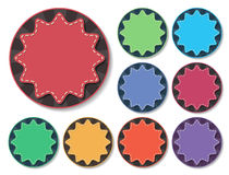 Starburst badge. Colorful starburst badges with stitch in flat style stock illustration