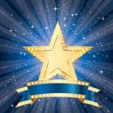 Starburst do azul da bandeira ilustração do vetor