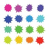 Starburst, explosion color comic shapes. Cartoon bursting speech bubbles. Star boom sale buttons vector set isolated. Illustration of sticker starburst shape stock illustration