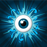 Starburst with eyeball. On blue background Stock Photo