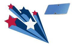 Starburst flag, travel sing blue,. Saple text Royalty Free Stock Photo