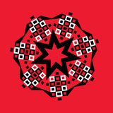 Starburst Geometric Medallion on Red Royalty Free Stock Image