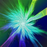 Starburst in green and blue with silhouettes Royalty Free Stock Photo