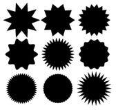 Starburst icons set, sunburst badges. Isolated on white background royalty free illustration