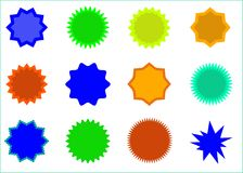 Starburst isolated icons set. Sunburst badges vector silhouette set . Isolated, bright colors Royalty Free Stock Photo