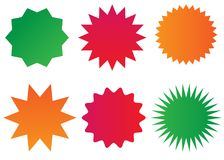 Starburst isolated icons set. Sunburst badges vector silhouette set . Isolated, bright colors Royalty Free Stock Images