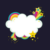 Starburst rainbow cloud banner Stock Image