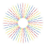 Starburst in rainbow colors, vector. Starburst in rainbow colors, retro fireworks design, colorful sunburst illustration, vector Royalty Free Stock Photography