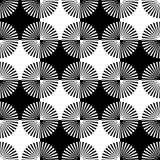 Starburst rays, beams seamless geometric pattern. Monochrome r Stock Photos