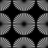 Starburst rays, beams seamless geometric pattern. Monochrome r. Epeatable backdrop. - Royalty free vector illustration Royalty Free Stock Photos