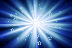 Starburst With Scattered Stars in Blue Stock Images