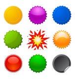 Starburst seals. Set of colorful starburst symbols for design Royalty Free Stock Photo