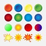 Starburst seals set. Stars emvlemy, glass, shapes, promotional labels, colorful stickers image Vector Illustration