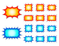 Starburst. Set of red and blue starburst speech bubbles Stock Photo