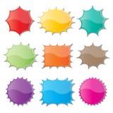 Starburst speech bubbles. Set of blank colorful paper starburst speech bubbles Royalty Free Stock Photo