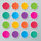 Starburst speech bubbles. Set of blank colorful paper starburst speech bubbles Royalty Free Stock Images