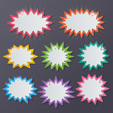 Starburst speech bubbles. Set of blank colorful paper starburst speech bubbles Stock Image
