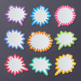 Starburst speech bubbles. Set of blank colorful paper starburst speech bubbles Stock Photo