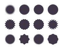 Starburst sprzedaży majcher Sunburst metka, promocji gwiazdy set, czarne sylwetki na białym tle Wektorowa sprzeda? royalty ilustracja