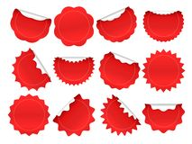 Starburst sticker. Shopping star burst button, red sale stickers and starburst shapes sparks isolated vector frames set stock illustration
