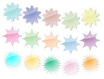 Starburst Stickers in Pastel Colors Stock Photography