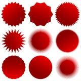 Starburst, sunburst, badge shapes. Set of 9 version. Royalty free vector illustration Vector Illustration