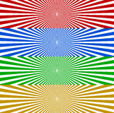 Starburst / sunburst banner background in 4 color. Converging, r. Adiating, radial lines horizontal background set. Monochrome wide format backgrounds - Royalty stock illustration