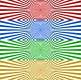 Starburst / sunburst banner background in 4 color. Converging, r. Adiating, radial lines horizontal background set. Monochrome wide format backgrounds - Royalty vector illustration