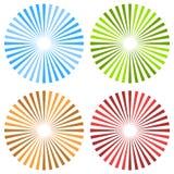 Starburst, sunburst circular pattern in 4 color. Colorful rays, royalty free illustration