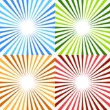 Starburst, sunburst circular pattern in 4 color. Colorful rays, vector illustration