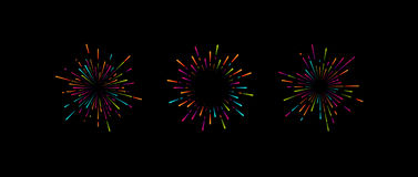 Starburst or sunburst collection. Multicolored graphic firework shapes. Starburst or sunburst collection. Vintage burst light rays. Vector graphic illustration Royalty Free Stock Image