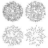 Starburst or Sunburst Design Element. Starburst or Sunburst Abstract Design Elements Set. Vector illustration isolated on white Royalty Free Stock Photos
