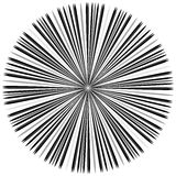 Starburst, sunburst element. Radial, radiating lines intersect a. T center. Abstract monochrome illustration - Royalty free vector illustration Royalty Free Stock Image