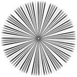 Starburst, sunburst element. Radial, radiating lines intersect a. T center. Abstract monochrome illustration - Royalty free vector illustration Stock Photos
