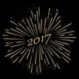 2017 starburst vector. Illustration on black background Stock Photo