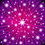 Starburst vector, stars on violet background graphic design. Flying sparkles, twinkle confetti falling down pattern. Night stars s. Abstract Colorful fireworks Royalty Free Stock Photography