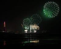 Starbursting-Feuerwerke in Blackpool Stockbild