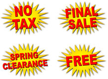 Starbursts; Deals. 4 Different starbursts: No Tax, Final Sale, Spring Clearance, FREE Stock Photography