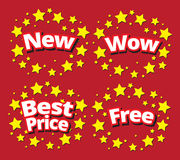 Starbursts set sale banner promotion set. New,wow,best price,free surround with star vector illustration