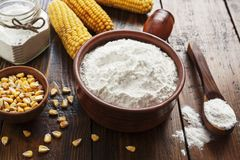 Starch and corn cob. On the table royalty free stock photo