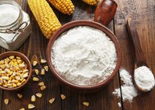 Starch and corn cob. On the table stock photo