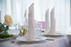Starched table napkins. Stock Photos