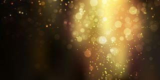 Stardust искры золота блестящее на черной предпосылке со светами bokeh иллюстрация штока