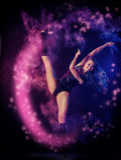 Stardust. Beautiful expressive bellet dancer dancing at studio. Powder Photo Shoot Royalty Free Stock Photography